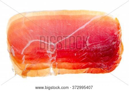 Jamon Meat On A White Background Isolation, Top View