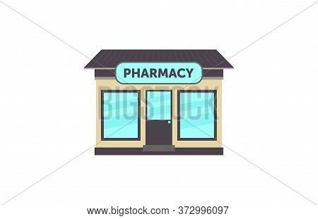 Vector Illustration Pharmacy Shop Front Facade Icon. Pharmacy Building Exterior.