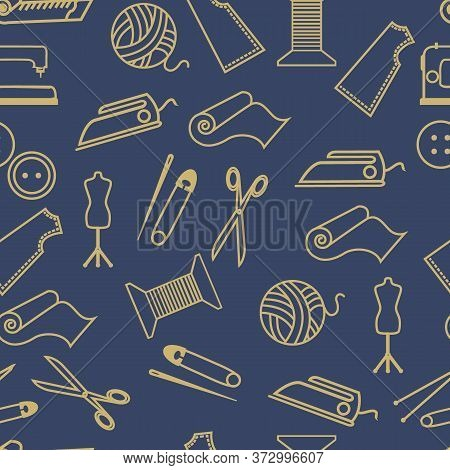 Seamless Pattern With Materials And Tools For Needlework, Hobbies, In Monochrome Colors, Ornament Fo
