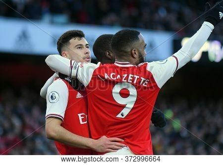 London, England - January 18, 2020: Gabriel Martinelli Of Arsenal And Alexandre Lacazette Of Arsenal