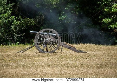 American Civil War Cannon On The Grass At A Civil War Re-enactment In Duncans Mills, California, Usa