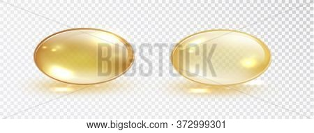 Oil Bubble Isolated On Transparent Background. Transparent Yellow Capsule Of Drug, Vitamin Or Fish O