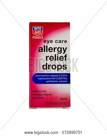 Generic, Rite Aid Manufactured Eye Drops For Allergy Relief In Its Original Box Against White Backgr