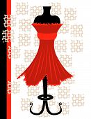 Abstract vector illustration of a red dress on white background poster
