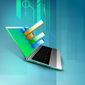 Abstract 3D statistics background, Business concept on a laptop screen. EPS 10. poster
