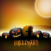 Halloween full moon night background with scary pumpkin. EPS 10. poster