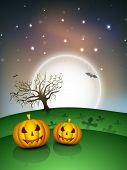 Halloween full moon night background with scary pumpkins. EPS 10. poster