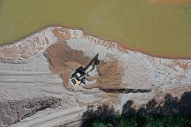 Mining in river, causing pollution and environmental damage