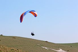 Paraglider Flying Wing At Milk Hill In Wltshire