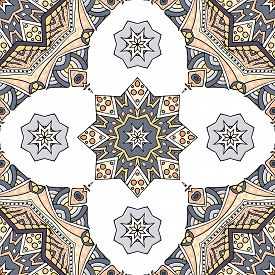 Seamless Pattern Vector Illustration. Vintage Decorative Elements. Hand Drawn Background. Islam, Ara