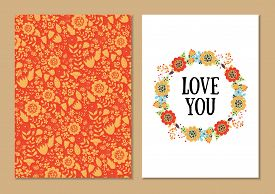 Cute Vintage Floral Cards Set. Wreath Shape With Flowers And Leaves. Beautiful Background Card For G