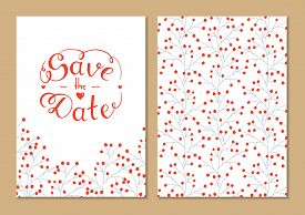Cards Set Save The Date With Hand Lettering. Vector Script Illustration With Hearts For Wedding Day