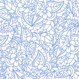 Abstract Monochrome Floral Doodle Background With Flowers And Leaves. Seamless Cute Pattern. Good Fo