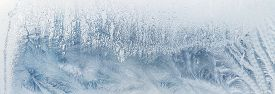 Tracery Of Hoarfrost On Glass. Winter Header Background.