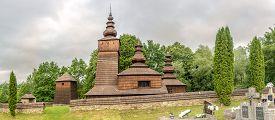 Potoky,slovakia - June 9,2020 - Panoramic View At The Wooden Church Of St.paraskeva In Village Potok
