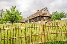 Svidnik,slovakia - June 9,2020 - View At The Wooden Houses In Saknsen Near Svidnik Town. The Open-ai