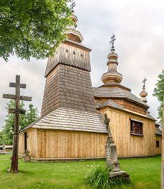 Ladomirova,slovakia - June 9,2020 - View At The Wooden Church Of Saint Michael Archangel In Village