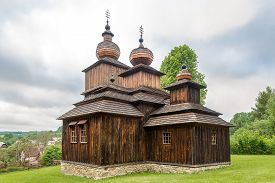 View At The Wooden Church Of St.paraskeva In Village Dobroslava - Slovakia