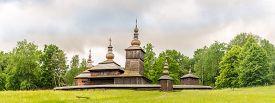 Panoramic View At The Wooden Church Of St.paraskeva From Village Nova Polianka In Svidnik - Slovakia