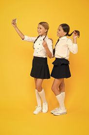 Personal Blog. Girls School Uniform Take Selfie Smartphone. Take Perfect Photo. Girls Just Want To H