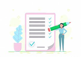 Businesswoman checklist. Successful woman checking task success, completed business tasks. Business concept. Business people. Business background. Infographic business arrow shape template design. Business background, business concept. business banner. Bu