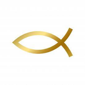 Ichthys Fish Sign Isolated Christian God Religion