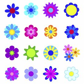 Set Of Vector Illustrations Of Flowers. Spring Graphic Design. Floral Clipart For Decoration. Stock