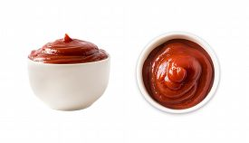 Ketchup Or Tomato Sauce Isolated On White Background, Top View. Isolated On White In Perspective. Bo