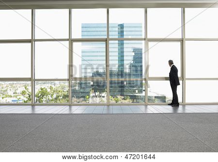 Full length of businessman looking out of office window