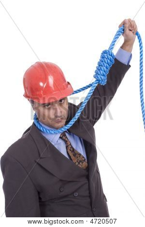 Business Man Hanging On A Rope