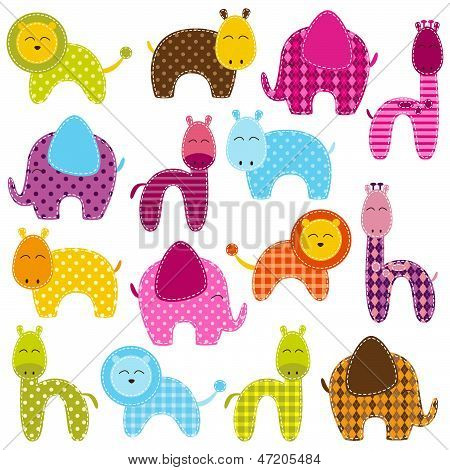 Vector Set of Brightly Colored Patchwork Animals poster