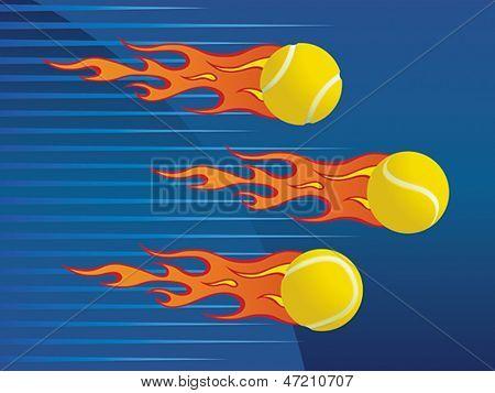 Hot flaming tennis balls. Vector format EPS 8, CMYK.