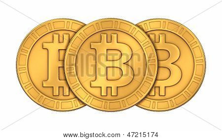 Frontal View Of Three 3D Rendered Paneled Golden Bitcoins On White