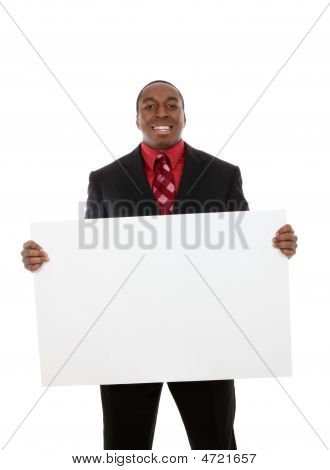 Handsome Business Man With Sign