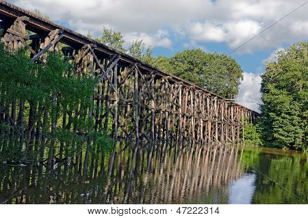 wooden train trestle