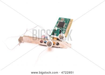 Sound Card And Headphones Isolated