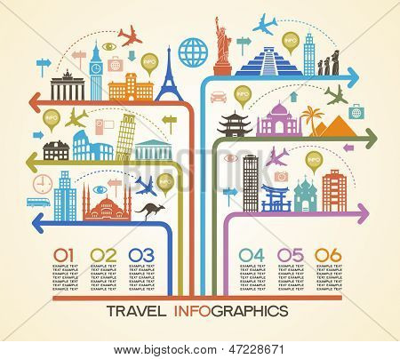 Elementos de la infografía: viajes y monumentos famosos.