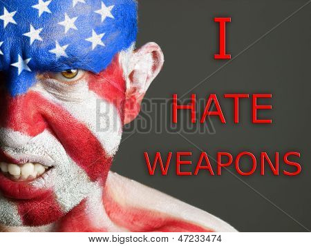 Man Face Flag Usa, I Hate Weapons, Aggressive Expression