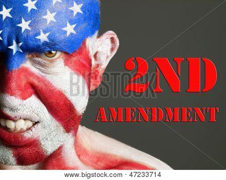 Man Face Flag Usa, 2Nd Amendment, Aggressive