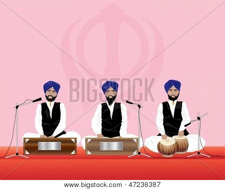 an illustration of three traditionally dressed sikh temple musicians with blue turbans and black waistcoats on harmonium and tabla drums performing in a gurdwara poster