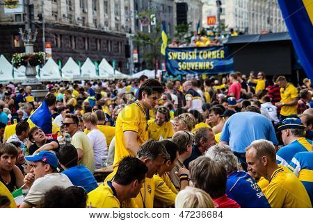 Kiev, Ukraine - June 10: Cheering Sweden And Ukrainian Fans Have Fun In The Fanzone  During Uefa Eur