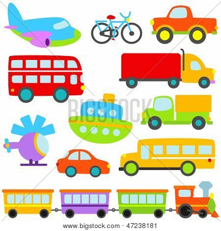 Cute and Colorful Cartoon Vector Transportation Set poster