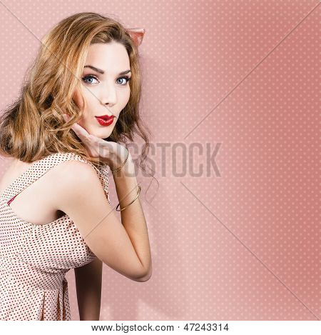 Beautiful Portrait Of 1950 Model Girl In Pin Up