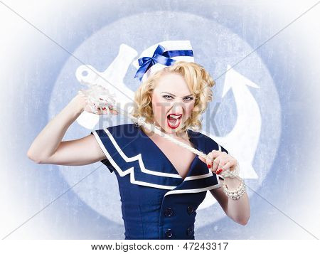 Tough Pin-up Sailor Breaking Rope. Navy Seal