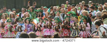 Children From Irish Dance School On Saint Patrick's Day Parade