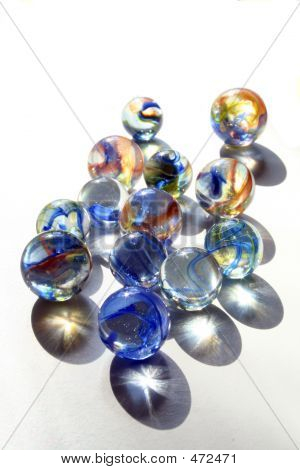 Marbles With Blue Swirls