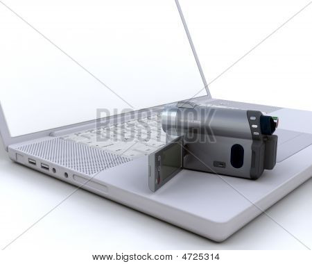 3D Handy Cam Over A Laptop