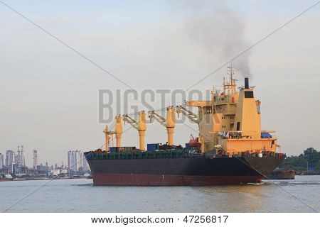 Tanker Ship Running In River