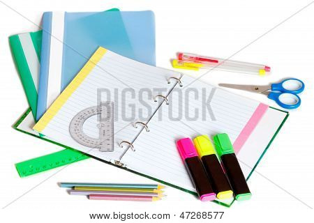 School Supplies With A Notebook; A Pens; A Pensils And Other