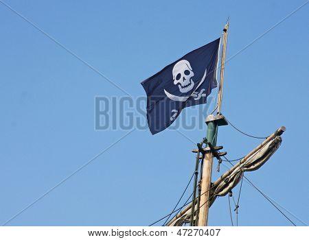 Pirate Flag That Flies Above The Corsair Ship
